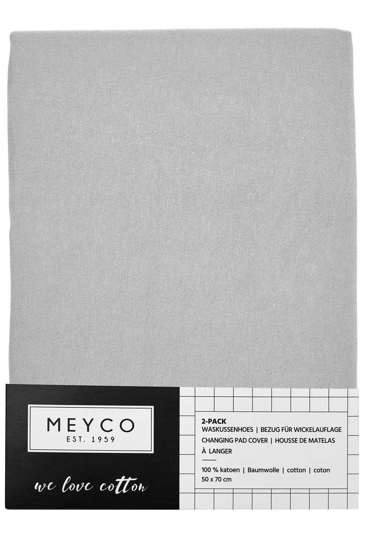 Aankleedkussenhoes Basic Jersey 2-Pack - Lichtgrijs - 50x70cm