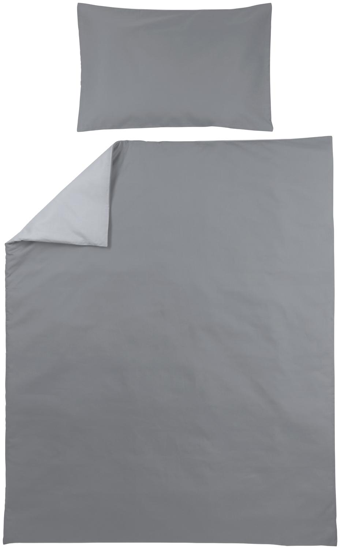 Dekbedovertrek + Kussensloop Uni - Grijs/Lichtgrijs - 120x150cm