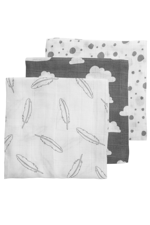 Hydrofiele Luiers 3-Pack Feathers-Clouds-Dots - Grijs/Wit - 70x70cm