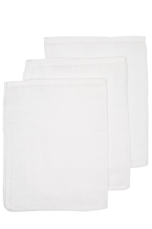 Hydrofiele Washandjes 3-pack Uni - Wit - 20x17cm