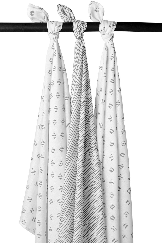 Hydrofiele Swaddles 3-Pack Block Stripe - Grijs - 120x120cm