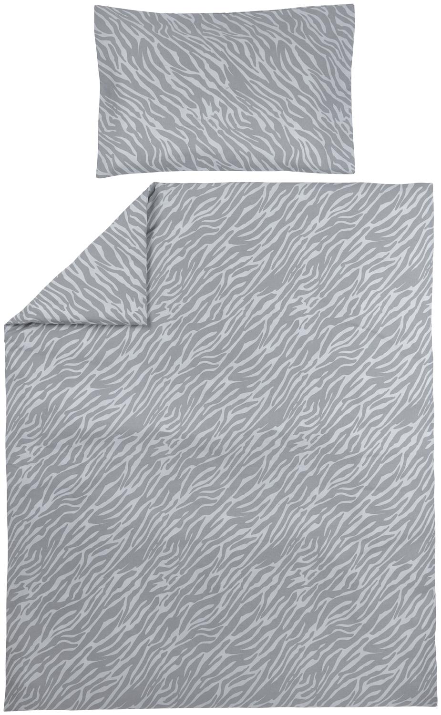 Dekbedovertrek + Kussensloop Zebra - Grijs - 100x135cm