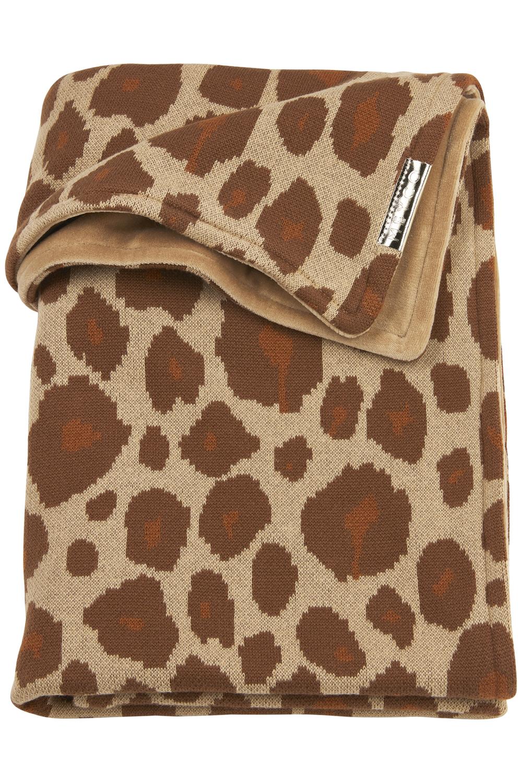 Babydecke groß Velvet Panter - Camel - 100x150cm