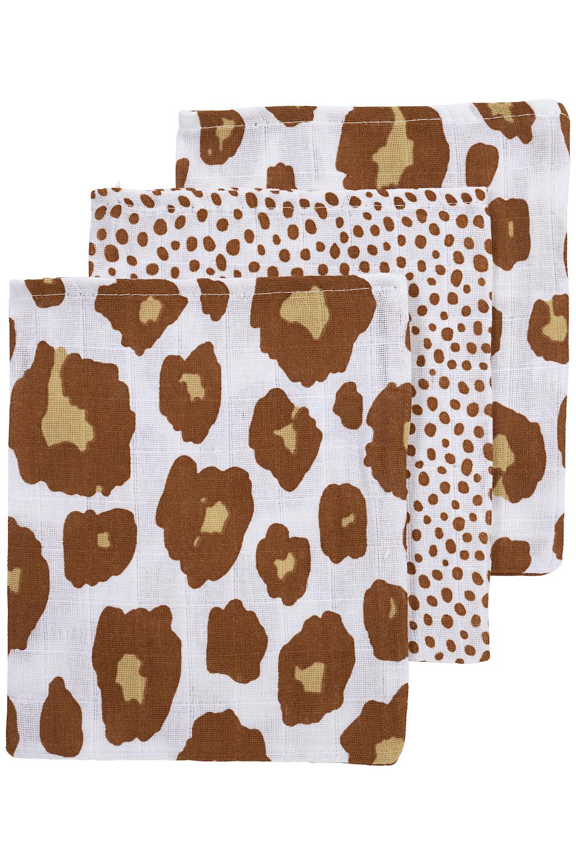 Musseline Waschhandschuhe 3-pack Panter/Cheetah - Camel - 20x17 cm