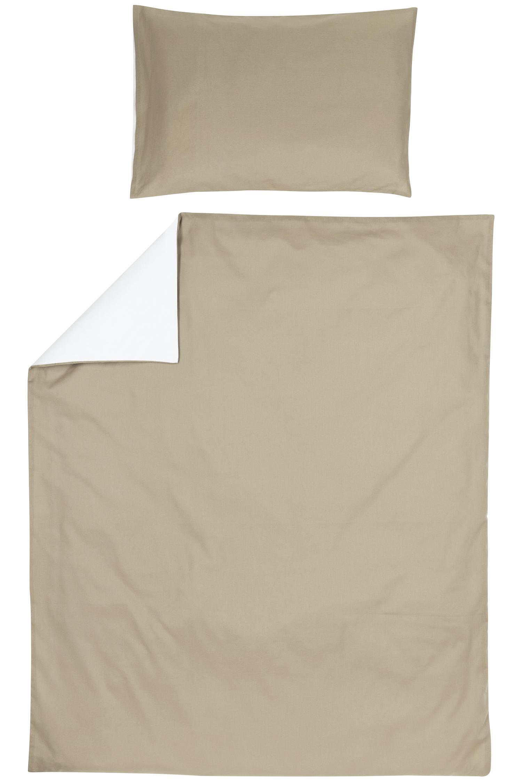Bettdeckenbezug + Kissenbezug Uni - Taupe/Offwhite - 120x150cm
