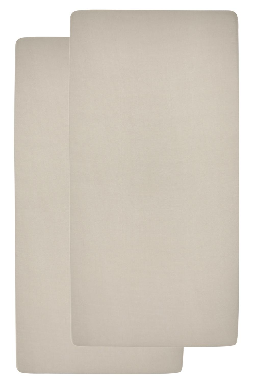 Jersey Hoeslaken Juniorbed 2-pack - Sand - 70x140/150cm