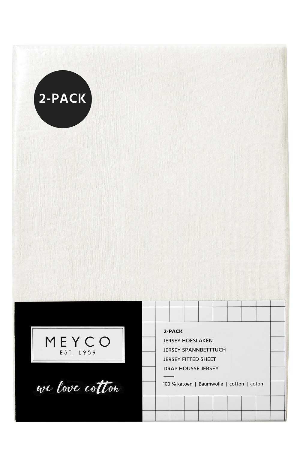 Jersey Hoeslaken 2-Pack - Offwhite - 40x80/90cm