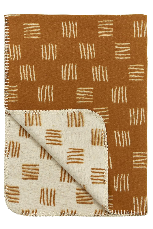 Wiegdeken Flanel Block Stripe - Camel/Offwhite - 75x100cm