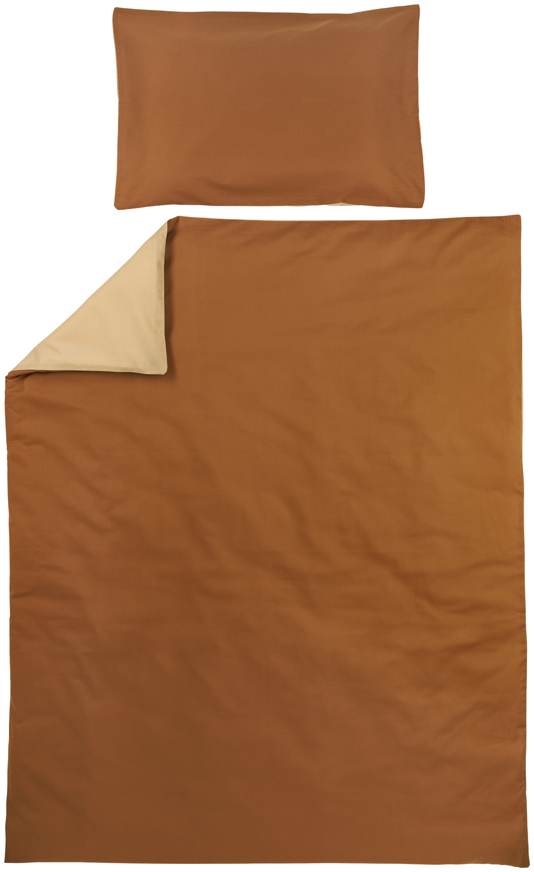 Bettdeckenbezug + Kissenbezug Uni - Camel/Warm Sand - 100x135cm