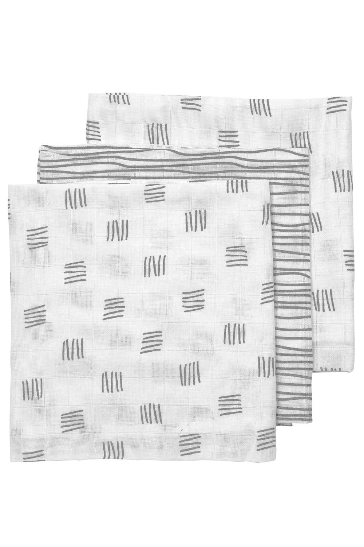 Hydrofiele Luiers 3-Pack Block Stripe - Grijs - 70x70cm