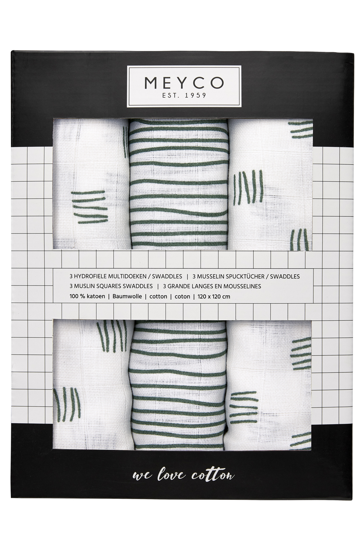 Hydrofiele Swaddles 3-pack Block Stripe - Forest Green - 120x120cm
