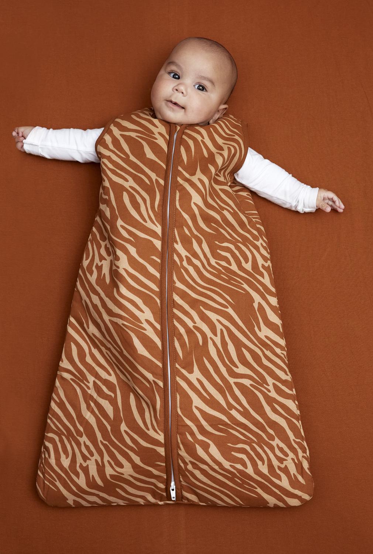 Babyslaapzak Gevoerd Zebra - Camel - 70cm