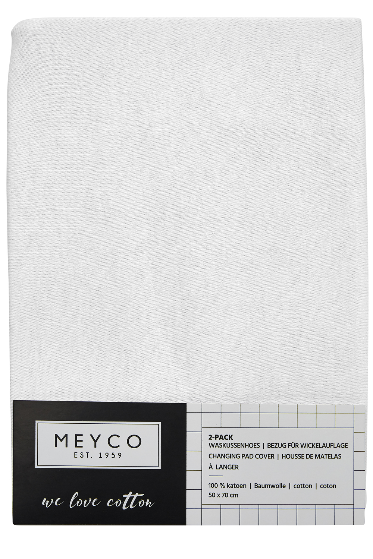 Aankleedkussenhoes Basic Jersey 2-Pack - Wit - 50x70cm
