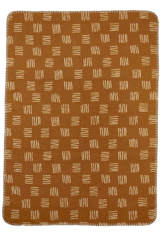 Ledikantdeken Flanel Block Stripe - Camel/Offwhite - 120x150cm