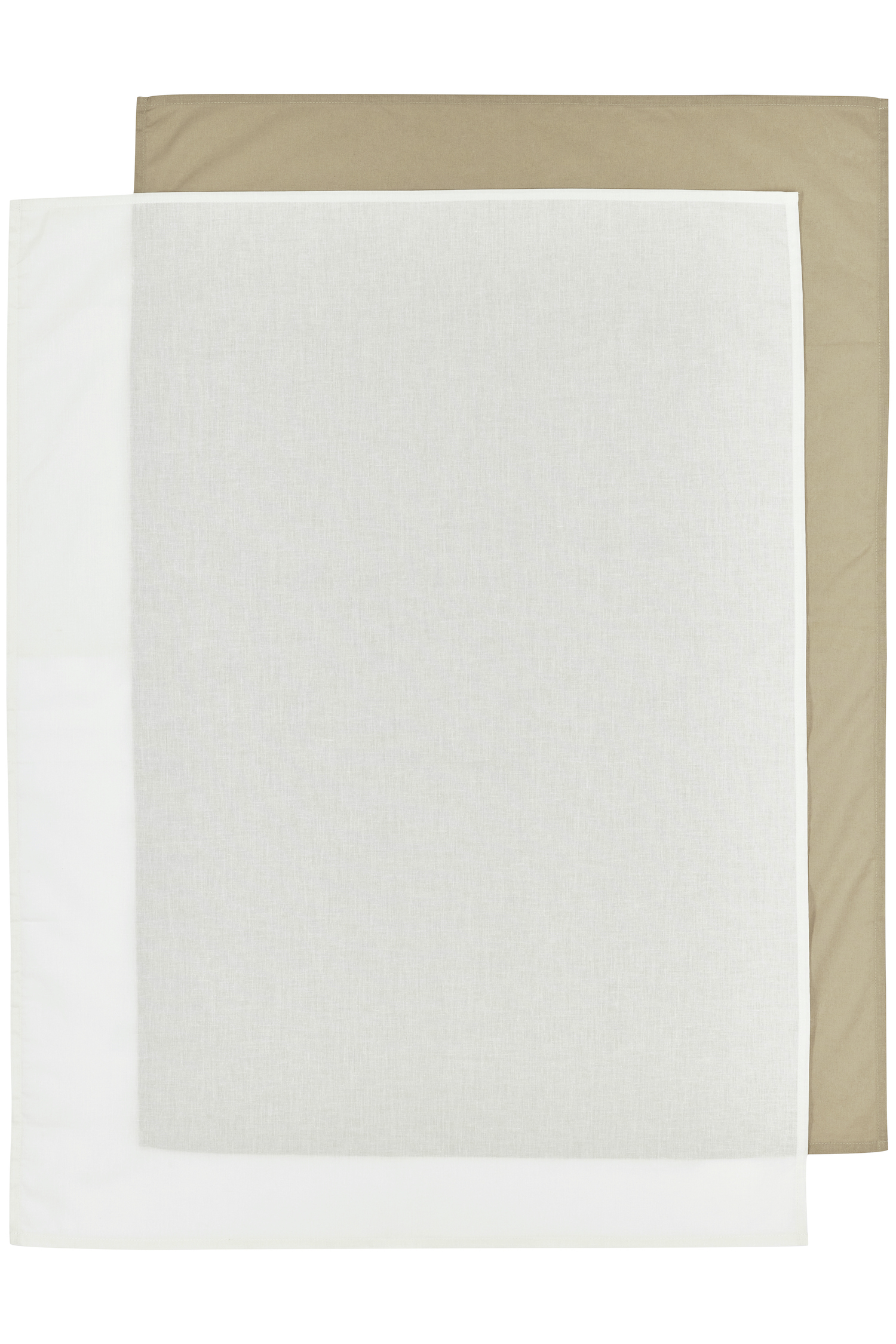 Bettlaken groß 2-Pack Uni - Taupe/Offwhite - 100x150cm