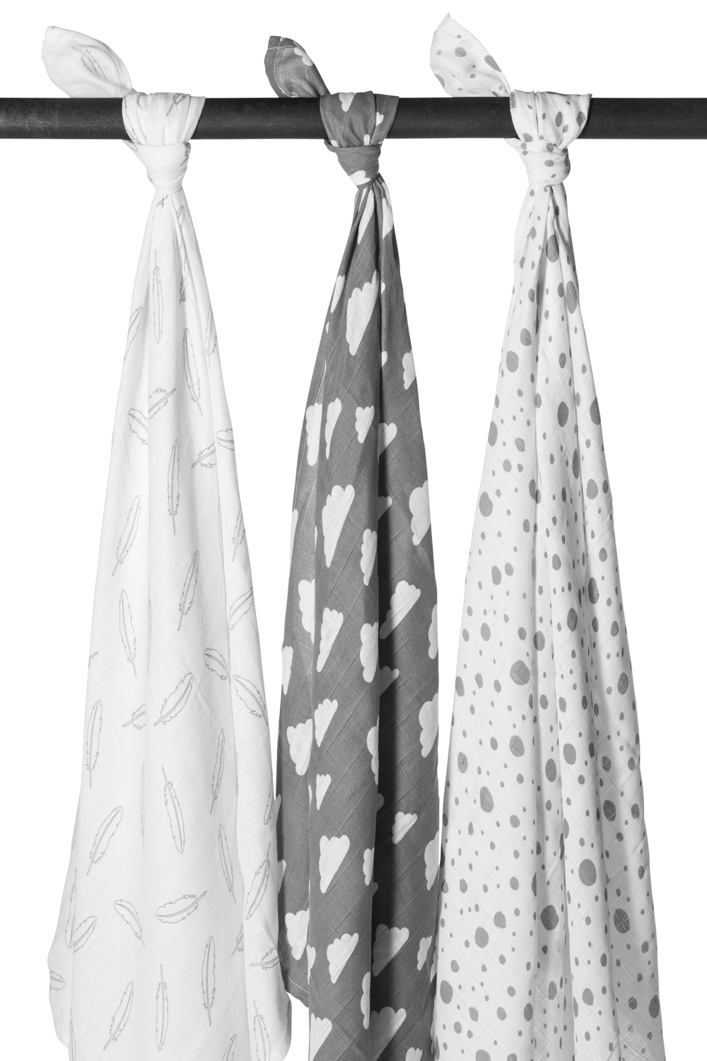 Musselin Swaddles 3-Pack Feathers-Clouds-Dots - Grau/Weiß - 120x120cm