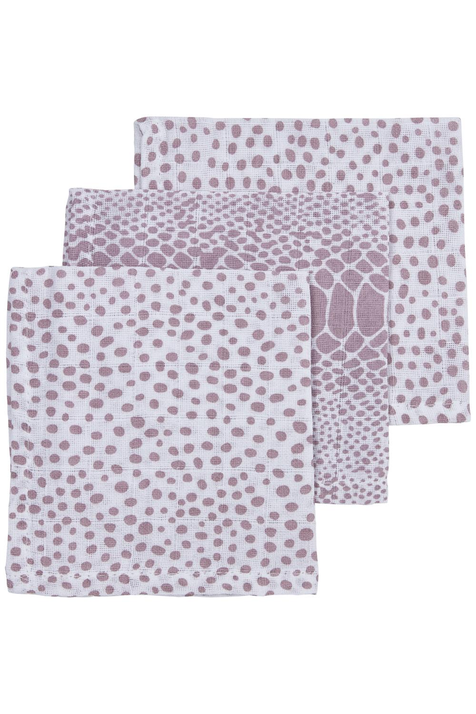 Hydrofiele Monddoekjes 3-Pack Snake/Cheetah - Lilac - 30x30cm