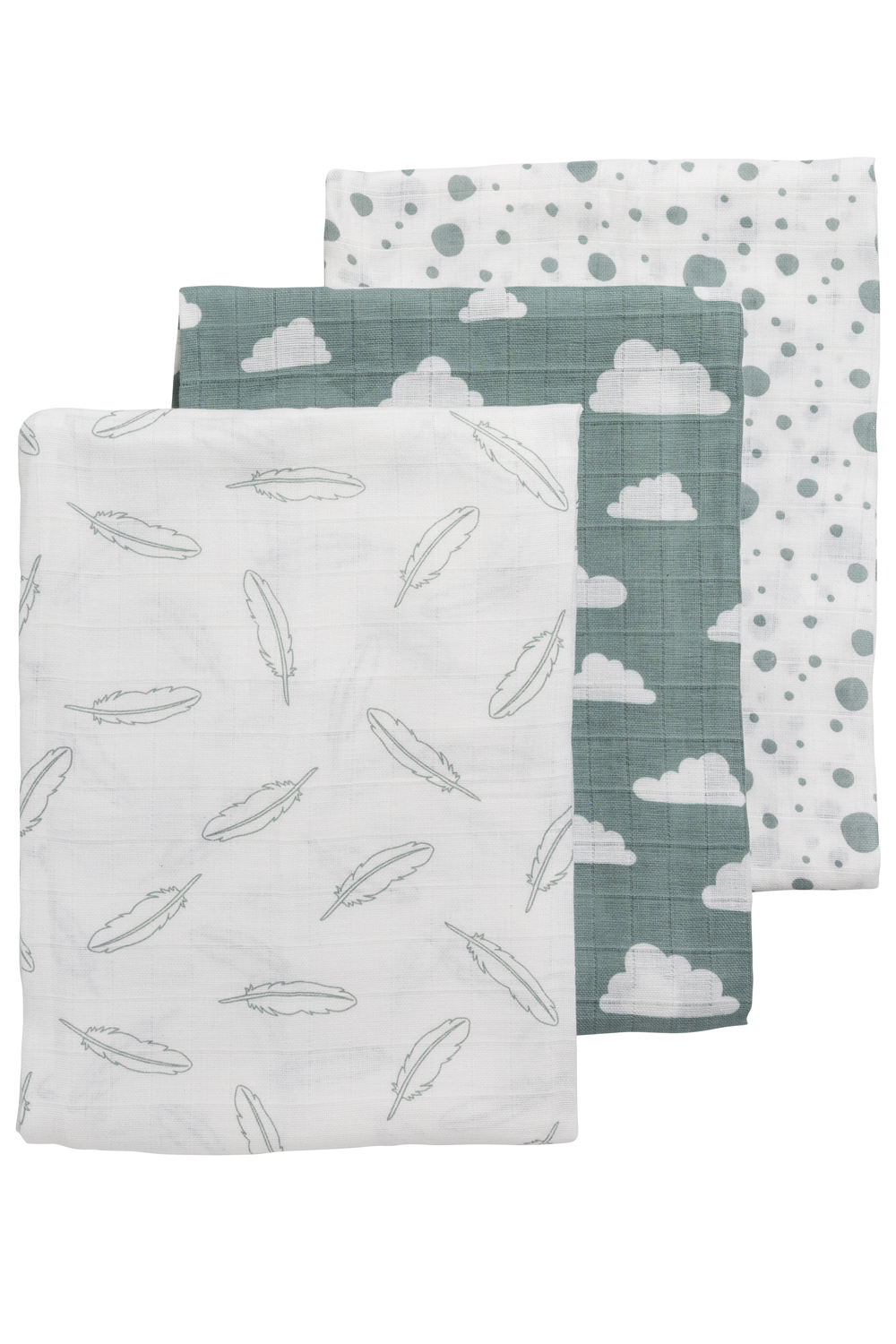 Hydrofiele Swaddles 3-Pack Feathers-Clouds-Dots - Stone Green/Wit - 120x120cm